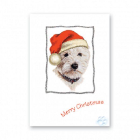 WEST HIGHLAND TERRIER CHRISTMAS GREETINGS CARD WESTIE CARD GLITTER